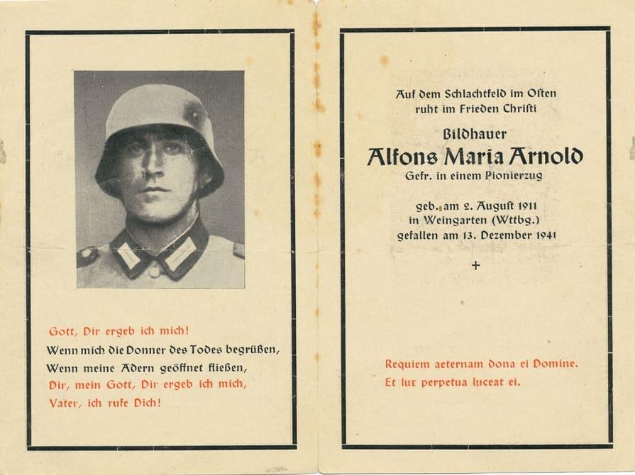 1941 Sterbebild Alfons Arnold
