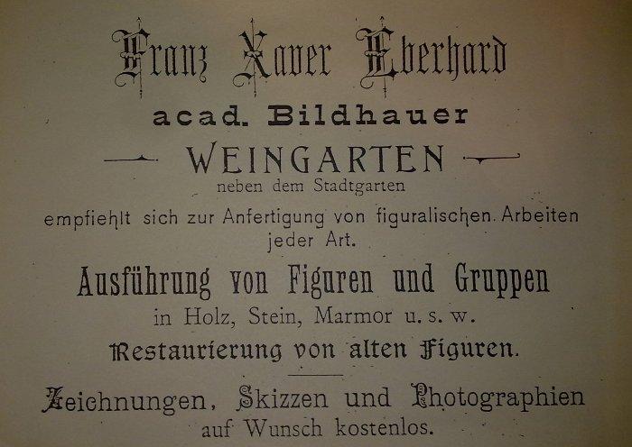 Anzeige Franz Xaver Eberhard