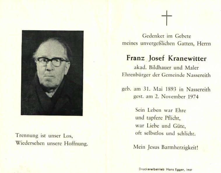 Kranewitter Franz Josef akad. Bildhauer und Maler Ehrenbürger der Gemeinde Nassereith 1893 Nassereith, Nordtirol