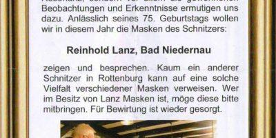 Maskenabend in Rottenburg: Maskenschnitzer Reinhold Lanz