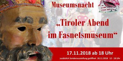 Museumsnacht mit Sonderausstellung zur Tiroler Fastnacht