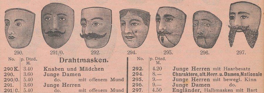 1910 Katalog Heintz und Kühn Drahtmasken