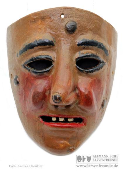 Holzmaske Maskenmuseu Kriens Narrenmal Holzlarve