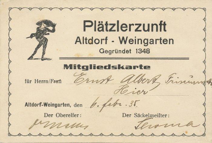 1935 Mitgliedskarte Albert